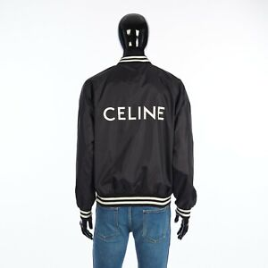 CELINE 1300$ Black Teddy Jacket In Light Nylon With Celine Print