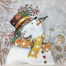 5  X  Paper party Napkins  for Decoupage Mr Snowman Christmas Napkin Art