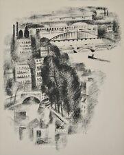 Robert DELAUNAY - lithographie originale - Paris, Ponts et passerelle de Passy