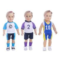 Casual Doll Sports Clothing Top Pants Socks Outfit for 18'' American Doll Dolls