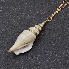 Women Fashion Hawaiian Conch Shell Pendant Necklace Beach Sea Jewelry Gold Chain