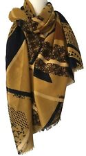 Scarf Mustard Yellow Navy Blue Flowers Stripes Spotted Womens Wrap Ladies Shawl