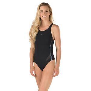 NWT Speedo Swimsuit LZR Fit Thick Strap Black Power Plus Performance 10 New