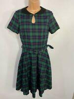 WOMENS DOLLY&DOTTY GREEN TARTAN COLLARED 50S VINTAGE ROCKABILLY FLARE DRESS UK10