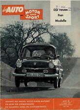 Auto Motor Sport 6 59 1959 Fiat 1800 2100 Familiare NSU Prinz Cadillac Cyclone