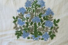10 yds Vintage Linen? Fabric  w Emb Blue Floral Bouquet on Soft White Lovely!