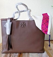 cc738d7bc7f4 Tory Burch Taylor Tote Silver Maple Leather NWT + Duster