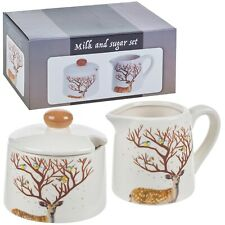 3 Pcs Dolomite Cream Sugar & Milk Jug Bowl Set Vintage Home Kitchen Decorative