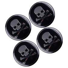 4× 56mm Car SUV Metal Cross Bone Skull Logo Emblem Sticker Wheel Center Hub Caps