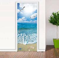 3D Sunshine Seagull Ocean Beach Bedroom Door Mural Wall Sticker Decal Home Decor