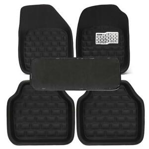 5Pc Black Universal Car Floor Mats Floor Liner Front & Rear Carpet All Weather