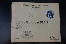 PORTUGAL CARTA CENSURA MILITAR Nº365 CENSOR DE LA COVER LISBOA 1916 -> LYON