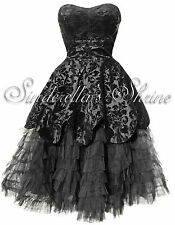 HELL BUNNY Victorian LAVINTAGE Dramatic Steampunk Gothic Evening Dress S UK 8