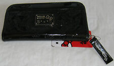 NWT Loungefly Hello Kitty Logo Black Patent Zip Around Wallet Clutch MSRP @ $68