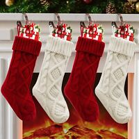 4 Pack Christmas Stocking 18 Inches Large Cable Knitted Stocking Decoratio (W&R)