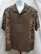 Pre-owned Tommy Bahama Brown Floral Silk Hawaiin Shirt Size XLXT Y127