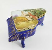 Beautiful vintage porcelain piano music trinket box signed RS,Art top Good 1980s