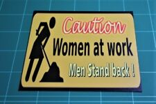 Vintage retro Women at Work men stand back funny metal wall sign plaque gift