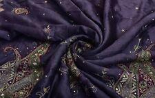 Indian Vintage Blue Heavy Saree Silk Craft 5 Yard Fabric Zari Embroidered Sari