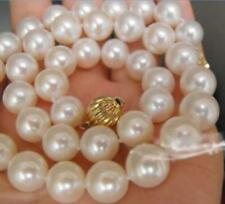 """AAA 9-10MM WHITE AKOYA ROUND PEARLS NECKLACE 18"""" 14k gold clasp"""