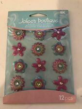 Jolees Boutique Dimensional Stickers-Yellow Dot Flowers Cabochons