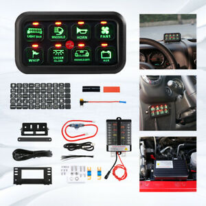 AUXBEAM 12-24V 8 Gang Control Switch Panel Electronic Relay System Universal