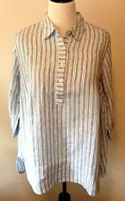 J JILL Plus Size 3X Love Linen Relaxed Tunic Blouse Top Blue White Stripes NEW
