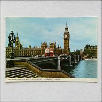 Westminster Bridge and The Houses of Parliament London 1986 Postcard (P382)