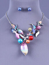 Silver and Multi Flower Necklace with Pearl and Crystal Accents