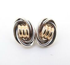 .Vintage Classic Sterling Silver & 14ct Gold Oval Knot Studs Stylish Design 6.5g