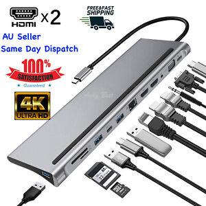 12 in 1 Type C Docking Station USB3.1 Hub HDMI 4K VGA SD/TF PD Macbook Laptops