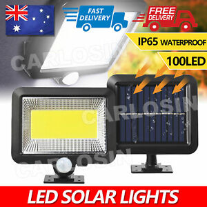 100 Led Solar Sensor Lights Light Motion Detection Security Garden Flood Lamp AU