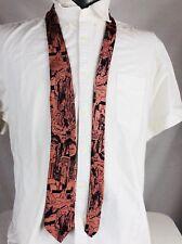 """Mens Vintage 1950s Comic Strip Restaurant Scene 100% Silk Necktie 56"""" USA"""
