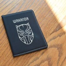 PERSONALIZED Wakanda Forever Smooth Leather Passport Cover (Black and Gold)