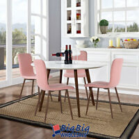 4 PC Dining Chair Home Kitchen Room Side Chairs Furniture Set Pink Fabric Metal