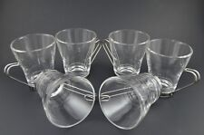 Vitrosax Glass Cup Mug Set of 6 Chrome Grip Handle Coffee Tea Clear Italy