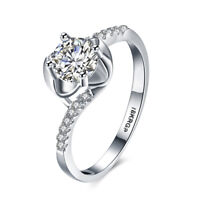 18K White Gold Plated Rose Flower Statement Ring Made with Swarovski Crystals