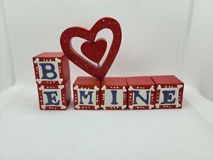 Valentines Day Decor, Be Mine Block Set