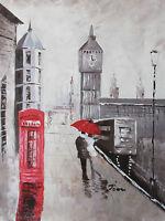 London Large Oil Painting Canvas Cityscape Contemporary Cream Original Art