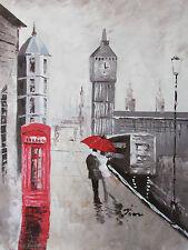 Londres Grande Peinture à l'huile toile paysage urbain contemporain Crème Art Original