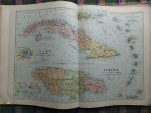 1902 antique map Caribbean Cuba Jamaica Havana Kingston Antilles Windward island