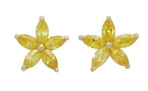 10K Solid Yellow Gold CZ Medium Size Flower Earrings [9 Colors]