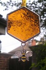 More details for stained glass honeycomb with bumble bee charm suncatcher handmade in england