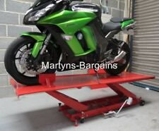 LARGE HYDRAULIC MOTORBIKE LIFT RAMP. FOOT OPERATED WITH WIDER PLATFORM