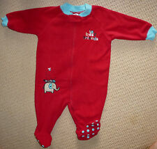 NWT Target Baby Girls Embroidered Polar Fleece Red Winter Romper Coverall Size 0