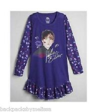 Justin BIEBER Purple Ruffles Nightgown PAJAMAS Pjs 10/12 NeW Kisses Lips XOXOX