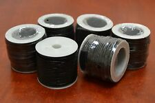5 ROLLS - 50 METERS BLACK LEATHER BEADING CORD STRING 2MM #F-47G