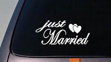 "JUST MARRIED 6"" WEDDING sticker decal cute BRIDE GROOM GOWN HONEYMOON DRESS RING"