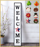 4 Ft WELCOME SIGN Front Porch Decor 9-Pc Interchangeable Holidays & Seasons