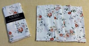Ralph Lauren cream orange yellow floral  20 X 20 cotton set/4 table Napkins NWT